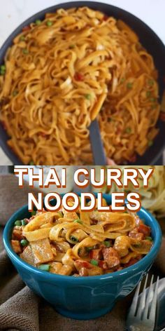 Recipes Snacks Videos Thai Curry Noodles has a curry based sauce highlighted with coconut milk, bamboo shoots and peas. An authentic taste of Asia that is flavorful and very easy to prepare. Healthy Thai Recipes, Thai Curry Recipes, Asian Noodle Recipes, Asian Recipes, Curry Pasta, Curry Noodles, Pad Thai Noodles, Thai Peanut Noodles, Chicken Curry