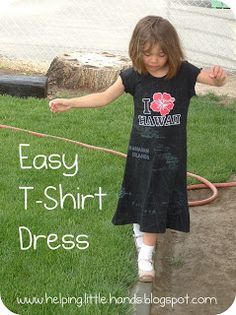 This is a good dress for my SPD girl.  She likes to wear Daddy's t-shirts so now I can turn a couple into dresses for her.