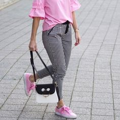 $22 YOINS Fashion Grid Drawstring Waist Cigarette Trousers Teamed With $91 Puma Pastel Pink Heart Suede Ribon Lace And $1,690 J.W. Anderson Pierce Medium Leather Shoulder Bag in Two-Town