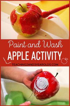 Painting with apples is always fun with the fall theme, especially when you add an extra step and wash them afterwards. Toddlers and preschoolers love this hands-on activity! #toddlers #preschool #fall #autumn #apples #painting #water #sensory #finemotor #art #teaching2and3year olds