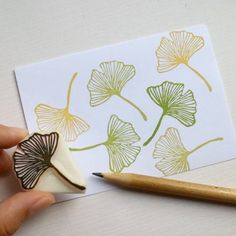 Gingko Leaf rubber stamp by ParadeMade on Etsy