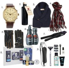Umm....MENS? what?  Pretty sure the only thing that Eric would use out of all of these would be the razor... is that a hair straightener? seriously?----->Men's Christmas Gift ideas