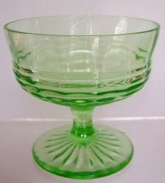 Green Circle Pattern Depression glass Sherbet.  Made by Hocking Glass Company in 1930's