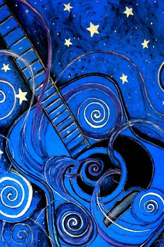 Nights Melody a.k.a. Blue guitar Painting  by Monica Furlow