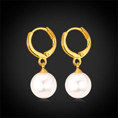 Pearl Earrings Platinum/18K Real Gold Plated White Pearl Water Drop Earrings For Women