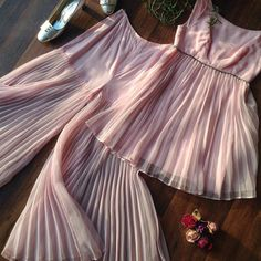 """Sheer delights! Does anyone else dream of pleats?  60s Pleated Palazzo Set 