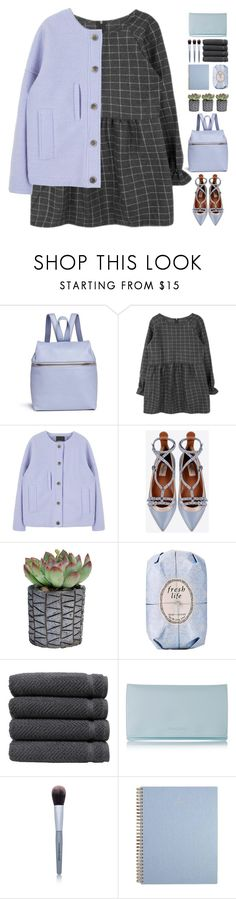 """""""#697"""" by giulls1 ❤ liked on Polyvore featuring Kara, Valentino, Fresh, Linum Home Textiles, Shiseido, Youngblood, Blue, grey, greydress and azure"""