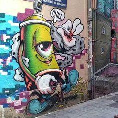Just The Everyday Basics. Best Street Art, 3d Street Art, Amazing Street Art, Street Art Graffiti, Street Artists, Dope Cartoon Art, Graffiti Designs, Graffiti Characters, Train Art
