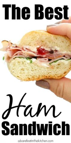 The Best Ham Sandwich You'll Ever Eat - Food Recipe Hot Ham Sandwiches, Best Ham Sandwich, Ham Sandwich Recipes, Sandwich Bar, Party Sandwiches, Finger Sandwiches, Ham Recipes, Soup And Sandwich, Cooking Recipes
