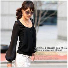 New Fashion Chiffon Long-sleeved Puff Sleeve Round Neck Fake Two-piece T-Shirt