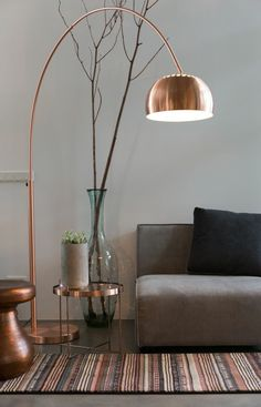 Brass curved floor lamp …