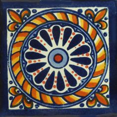 Love the beautiful blue and red colors in this new tile we have in. Starting at $1.75 per tile order now for your kitchen or outdoor patio. http://www.mexicantiledesigns.com/collections/traditional-decorative-tile/products/traditional-mexican-tile-cuerda