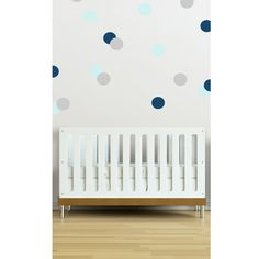 Navy, Blue and Gray Wall Dot Decals - we love wall decals as a way to tackle those blank nursery walls without the commitment of wallpaper or paint.
