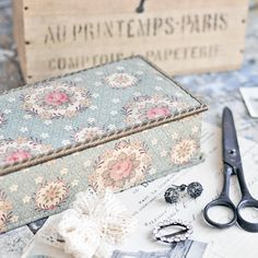 A vintage French fabric-covered box with pretty pink roses