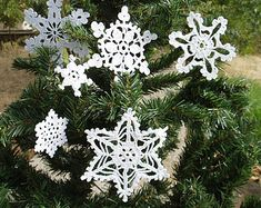 Items similar to Crochet Christmas set of 6 ornaments White silver ornaments set  Two bells White angel and 3 snowflakes Silver ball Winter wedding decor on Etsy