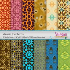 Arabic Patterns, Digital Paper, Scrapbooking, Paper, 12x12, Printable, Arabic, Pattern, Islamic, Texture, Eid, Background, Download by Selegan on Etsy