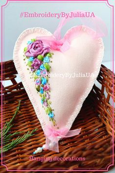 Valentine cushion heart decor pillow hanging Fabric small pillow Door knob hanger Pink heart for her Small heart gift http://etsy.me/2CSWQGG #housewares #homedecor #pink #housewarming #valentinesday #entryway #valentinescushion #cushionheartdecor #EmbroideryByJuliaUA