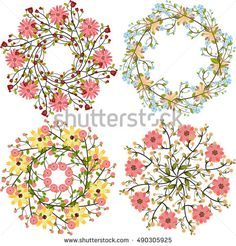 Set of floral bouquets, template for wedding invitation, postcards, logo,design elements