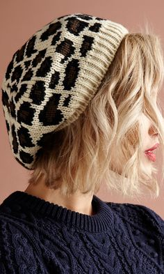 Leopard knit beanie