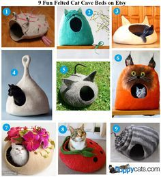 9 Fun Felted Cat Cave Beds on Etsy http://www.floppycats.com/9-fun-felted-cat-cave-beds-on-etsy.html
