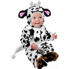 This adorable baby cow costume features a printed jumpsuit with matching headpiece. Jumpsuit includes attached tail and hoof details. Headpiece has ears and horns sewn in. - Full body costume - Matchi