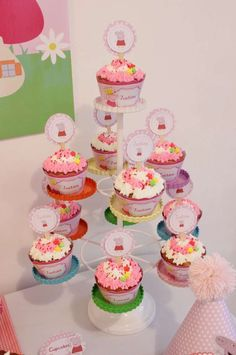Peppa Pig Birthday Party Cupcakes!  See more party planning ideas at CatchMyParty.com!