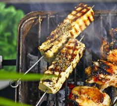 Oregano cheese skewers. Delicious herby barbecue skewers that swap Brazilian 'queijo de coalho' for salty, firm halloumi. Serve with a selection of dipping sauces