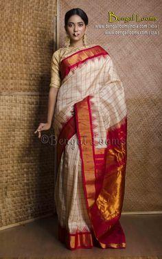 Charming Light Cream Colored Red Gold Pallu Silk Base Saree With Tassels South Indian Wedding Saree, Indian Bridal Sarees, Bridal Silk Saree, Saree Wedding, Gujarati Wedding, Bengali Saree, Tamil Wedding, Bollywood Wedding, Gadwal Sarees Silk