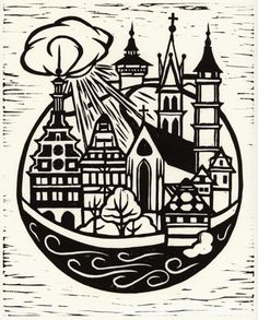 linocut print- same style but with a ship with masts coming out the of top of…