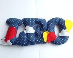 Handmade Personalised Wool Blend Felt Name Banner - balloons theme. Perfect for a Nursery, New Baby, Christening, Bedroom