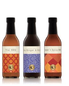 Organic sauces packaging consisting of patterns, it's stylish and abstract. The upper space for the typography is neat and elegant with soft colours.  http://frankaloi.com.au/index.php?/projects/spiral-sauces/