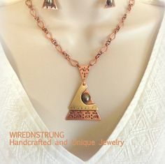 Copper Brass and Gemstone Necklace and Earring set by WirednStrung