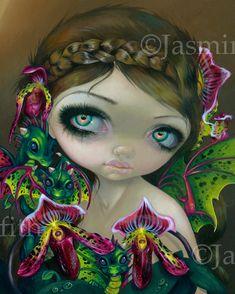 Dragon Orchid fairy art print by Jasmine por strangeling en Etsy