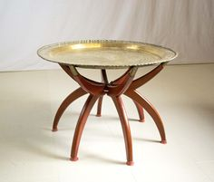 Mid Century Modern Spider Coffee Table with Etched Brass Top by OffCenterModern on Etsy