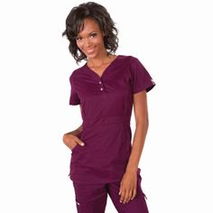 """Longer top from Koi in Merlot, 26"""" length (size S) 55% cotton/45% polyester soft twill top, Two functioning snap buttons and deep pockets XS-3X £27.50 #dental #uniforms #nurse #female #scrubs #tunics #top #healthcare #koi #Justine #happythreads"""