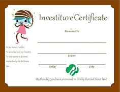 printable brownie investiture certificates | Investiture Certificate for Brownies