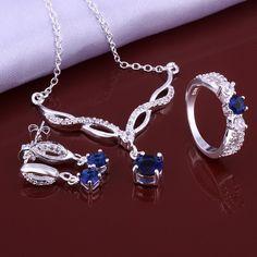 925 Sterling Silver Jewelry Set with Blue Zircon. ECA LISTING BY Virgin Pacific Diamond.Inc, Lantzville, British Columbia, Canada