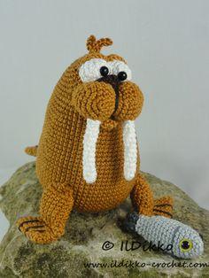 Walter the Walrus amigurumi crochet pattern by IlDikko Crochet Sea Creatures, Crochet Animals, Half Double Crochet, Single Crochet, Crochet Yarn, Crochet Toys, Amigurumi Patterns, Crochet Patterns, Yarn Stash