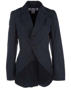 Navy cotton blend, front fastening two button tuxedo style jacket from Comme des Garçons with two side pockets and shaped back hem.