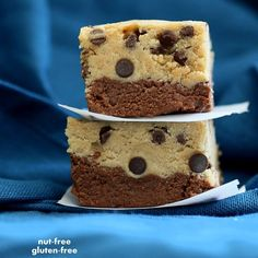 Cookie dough Brownie bars. No bake! Nut-free. Made with cooked red lentils ! #vegan #glutenfree #lentils , weird food combinations for #veganmofo #vgnmf15 . #recipe on veganricha.com in the archives
