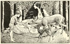 Dorothy Lathrop ~The Wonder of the Hills~ A Little Boy Lost ~ 1920  The doe— timidly smelt at his hand,   then licked it with her long pink tongue.
