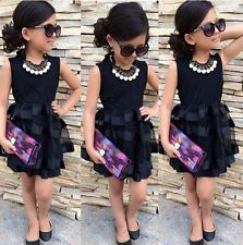 Princesa crianças bebê meninas vestidos de noite festa de tule preto listrado Vestido formal