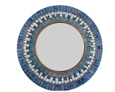 "Blue and Copper Round Mosaic Wall Mirror. 18"" diam"