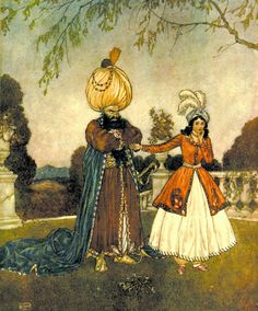'Seven and one are eight, Madam!' Bluebeard illustration from Edmund Dulac's Picture-Book For The French Red Cross