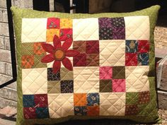 Kit Lovely quilted pillow with wool by MomAndIDesigns on Etsy