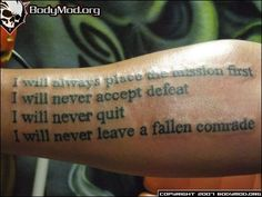 soldier's creed tattoo. on the ribs. different font. gettin it. ***