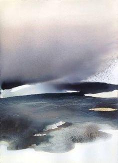 "Saatchi Art Artist Sabrina Garrasi; Painting, """"Liquid sunset. Story of a night..."" / Large Watercolor"" #art"