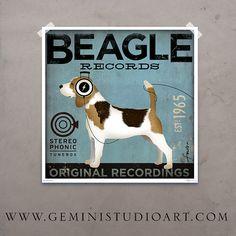 Beagle Records album style artwork original illustration graphic art on 12 x 12 canvas by stephen fowler Print Artist, Artist Canvas, Graphic Illustration, Graphic Art, Beagle Art, Beagle Puppy, Baby Dogs, Doggies, Sign Printing
