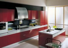 Kitchen:Grater Chimney Stainless Cooking Pot Pull Down Handle Faucet Stainless Steel Sinks Glass Microwave Built In Red Kitchen Cabinets And Single Windows Grey Laminate Flooring Texture Smooth Cooktops Smooth and daring , Red kitchen cabinets make the ultimate statement