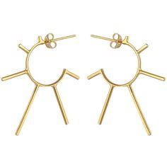 Marcia Vidal - Gold Light Punk Sunshine Hoops ($225) ❤ liked on Polyvore featuring jewelry, earrings, spike hoop earrings, 24k gold earrings, gold hoop earrings, 24 karat gold jewelry and punk earrings